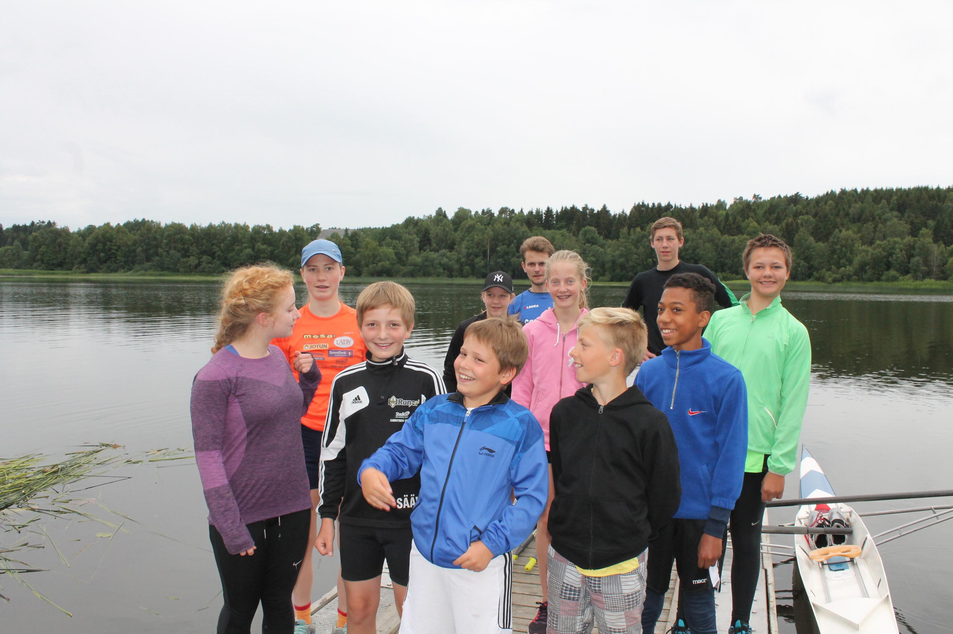 Mange nye fjes på trening på Goksjø, Ingunn, Hanna, Emil, Siri, Noa, NN, Sofie, David ,Nicolay, Leon og Elling.